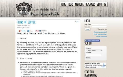 Screenshot of Terms Page pourmanspride.com - Terms of service - captured Sept. 30, 2014