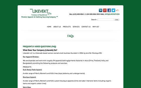 Screenshot of FAQ Page likevekt.com - Likevekt Corp. A Premier Apparel & Clothing Sourcing Company. Toll Free 1-844-800-0065. - captured Oct. 1, 2014