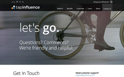 Screenshot of Contact Page tapinfluence.com - Get In Touch - TapInfluence - captured Sept. 12, 2014