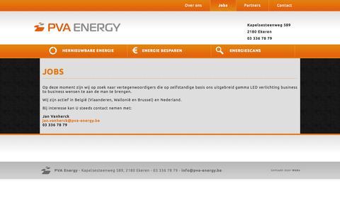 Screenshot of Jobs Page pva-energy.be - Jobs - PVA Energy - captured Sept. 27, 2014