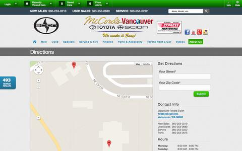 Screenshot of Maps & Directions Page vancouvertoyota.com - Vancouver Toyota Scion | Vehicles for sale in Vancouver, WA 98662 - captured Oct. 9, 2014