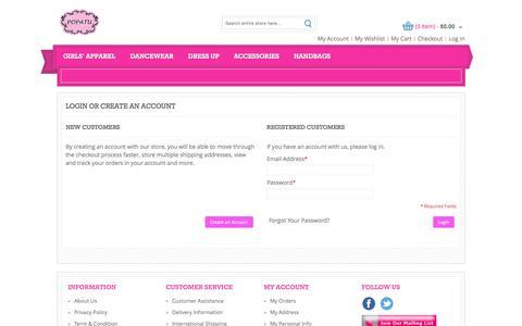 Screenshot of Login Page popatu.com - Customer Login - captured March 12, 2016