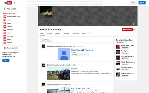 Screenshot of YouTube Page youtube.com - Oakos Automotive  - YouTube - captured Oct. 26, 2014