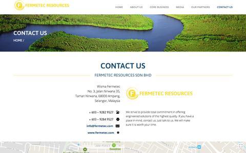 Screenshot of Contact Page fermetec.com - Contact Us – Fermetec Resources - captured Oct. 13, 2017