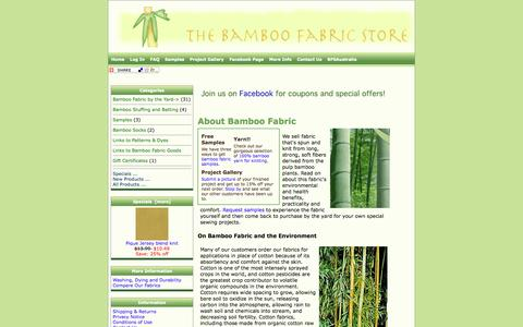 Screenshot of Home Page bamboofabricstore.com - Bamboo Fabric Store - captured Sept. 30, 2014