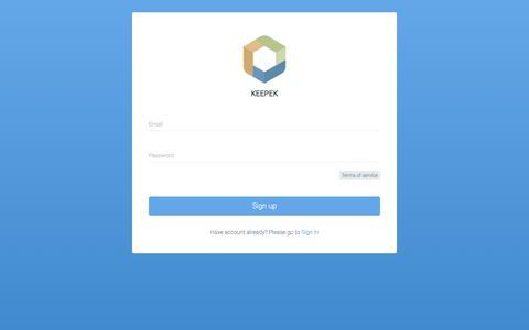 Screenshot of Signup Page keepek.com - Keepek | Sign Up - captured June 9, 2017
