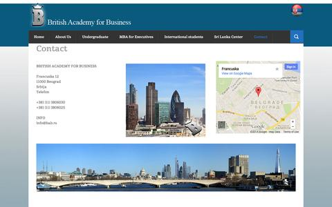 Screenshot of Contact Page british-academy-business.com - Contact | British academy for business - captured Oct. 5, 2014