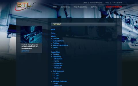 Screenshot of Site Map Page btlmachine.com - CNC Precision Machining Programming, BTL Machines, Site Map | BTL Machine - captured Sept. 30, 2014