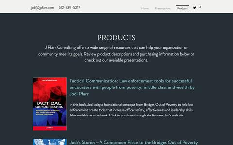 Screenshot of Products Page jpfarr.com - Products | J Pfarr Consulting - captured Sept. 30, 2018
