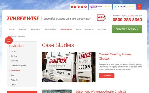 Screenshot of Case Studies Page timberwise.co.uk - Case Studies | Timberwise - captured Feb. 17, 2016