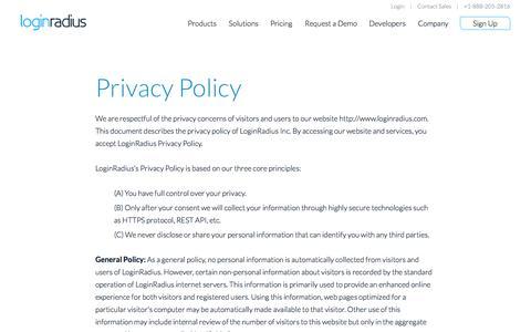 Screenshot of Privacy Page loginradius.com - Unified Developer API for Social Network Integration - LoginRadiuss - captured Sept. 16, 2014
