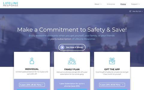 Screenshot of Pricing Page llresponse.com - LifeLine App Purchase Plans   LifeLine Response - captured Dec. 15, 2018