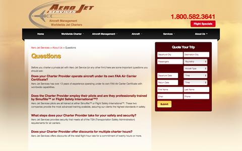 Screenshot of FAQ Page aerojetservices.com - Jet Charter Questions - Jet Charter FAQ - Jet Charter Information - captured Sept. 30, 2014