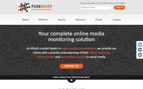 Screenshot of Home Page fuseware.net - Fuseware | Your complete online media monitoring solution - captured Sept. 30, 2014