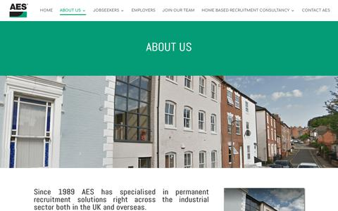 Screenshot of About Page aesco.co.uk - ABOUT US | AES - captured Oct. 3, 2018