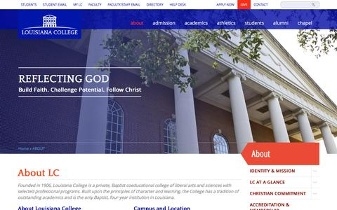 Screenshot of About Page lacollege.edu - ABOUT   Louisiana College - captured Jan. 31, 2016