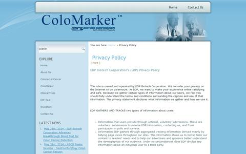 Screenshot of Privacy Page edpbiotech.com - Privacy Policy - captured July 18, 2014