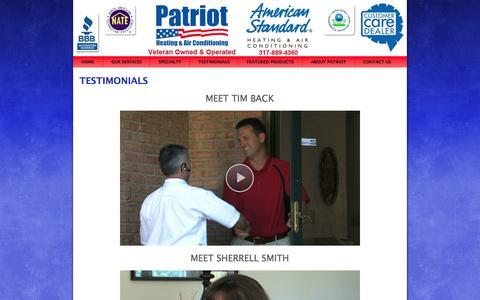 Screenshot of Testimonials Page patriotheatingandair.com - Patriot Heating and Air Conditioning: Testimonials - captured Oct. 2, 2014