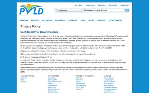 Screenshot of Privacy Page pvld.org - Privacy Policy | Palos Verdes Library District - captured Oct. 1, 2014