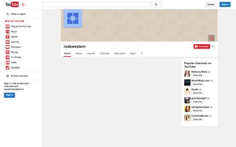 Screenshot of YouTube Page youtube.com - rodswestern  - YouTube - captured Oct. 25, 2014