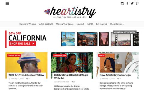 Screenshot of Blog icanvas.com - iCanvas Blog - Heartistry | helping you find art you love - captured Feb. 22, 2020