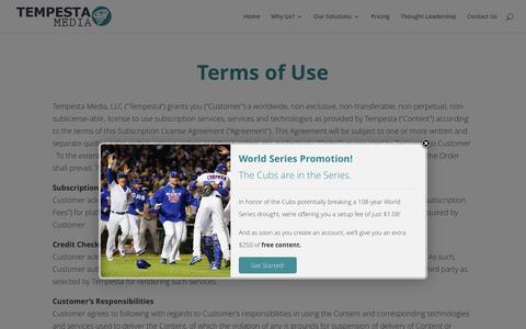 Screenshot of Blog Terms Page tempestamedia.com - Terms of Use - Tempesta Media - captured Nov. 2, 2016