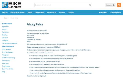 Screenshot of Privacy Page bikecenter.be - Privacy Policy - captured Oct. 22, 2018