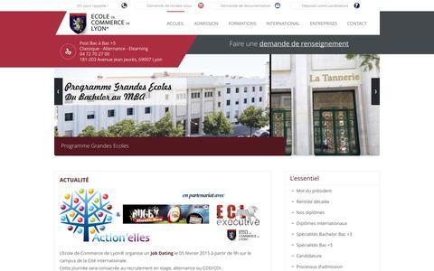 Screenshot of Home Page ecole-de-commerce-de-lyon.fr - Ecole de Commerce de Lyon - Formations Bachelor et MBA à Lyon - ECL - - captured Jan. 18, 2015