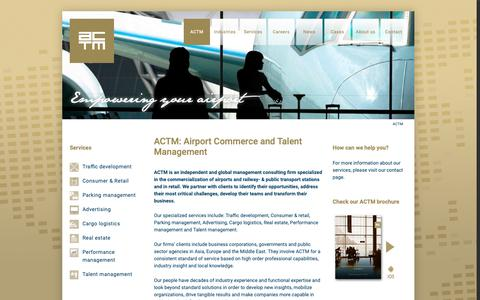 Screenshot of Home Page actm.com - ACTM – Airport Commerce and Talent Management - captured Nov. 6, 2018