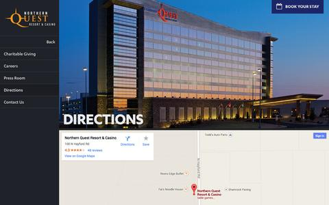 Screenshot of Maps & Directions Page northernquest.com - Directions | Northern Quest Resort & Casino - captured Sept. 23, 2014