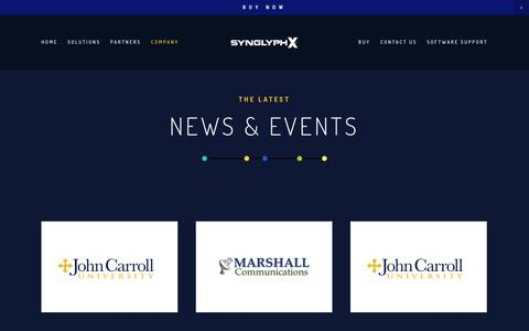 Screenshot of Press Page synglyphx.com - NEWS & EVENTS — SynGlyphX - captured Nov. 19, 2018