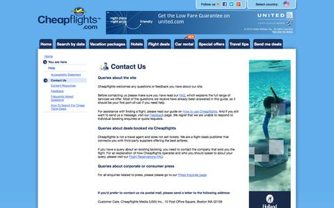 Screenshot of Contact Page cheapflights.com - Contact Us - captured Sept. 29, 2014