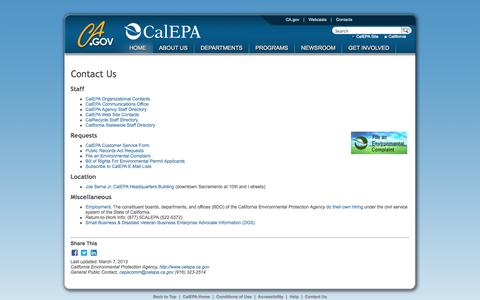 Screenshot of Contact Page ca.gov - Contact Cal/EPA - captured Sept. 13, 2014