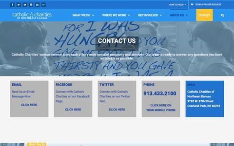 Screenshot of Contact Page catholiccharitiesks.org - Contact Us - Catholic Charities of Northeast Kansas - captured Oct. 28, 2016