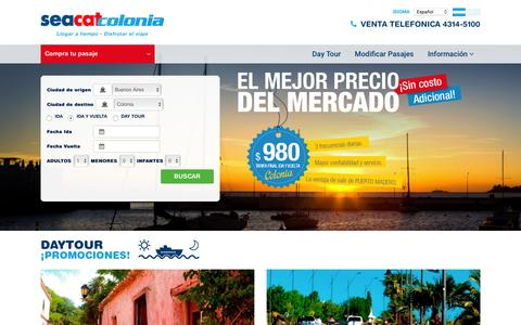 Screenshot of Home Page seacatcolonia.com - Seacat Colonia | Pasajes a Buenos Aires Colonia. Tarifas para Colonia, Uruguay. Viajes a Colonia y Buenos Aires - captured Feb. 29, 2016