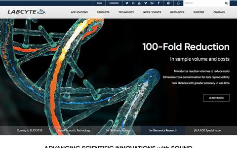 Screenshot of Home Page labcyte.com - Acoustic Liquid Handling Technology   Labcyte Inc. - captured Jan. 12, 2018