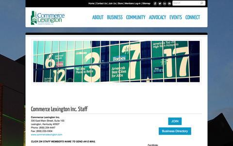 Screenshot of Contact Page commercelexington.com - Commerce Lexington Staff - Commerce Lexington Inc.   Lexington, KY - captured Jan. 30, 2016