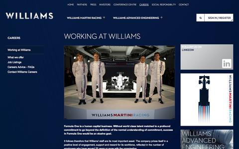Screenshot of Jobs Page williamsf1.com - Working at Williams - captured Nov. 4, 2014