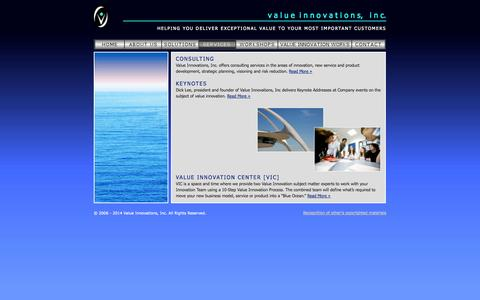 Screenshot of Services Page valueinnovations.com - v a l u ei n n o v a t i o n s, i n c. - services - captured Oct. 7, 2014
