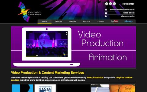 Screenshot of Home Page dischrocreative.co.uk - Video Production & Content Marketing Wales - Dischro Creative - captured Sept. 30, 2014