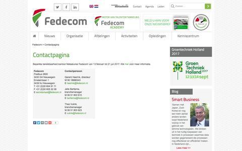 Screenshot of Contact Page fedecom.nl - Contactpagina - Fedecom - captured June 5, 2017
