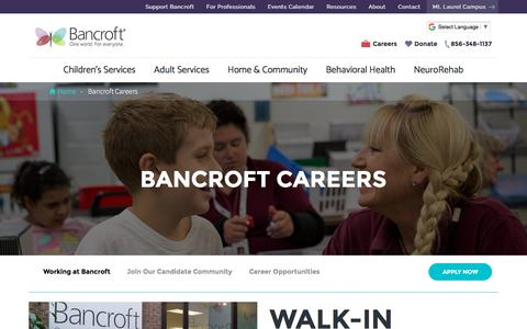 Screenshot of Jobs Page bancroft.org - New Jersey Careers in Developmental, Autism & NeuroRehab | Bancroft - captured Aug. 1, 2018