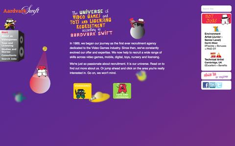 Screenshot of Home Page aswift.com - Aardvark Swift - Games Jobs - captured Sept. 19, 2014