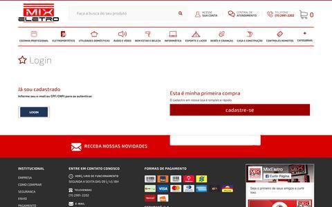 Screenshot of Login Page mixeletro.com.br - Identificação - MIX ELETRO - captured Sept. 30, 2018