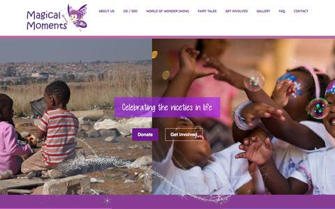 Screenshot of Home Page magicalmoments.co.za - Magical Moments - Celebrating the Niceties in life - NGO Johannesburg - captured Feb. 14, 2018