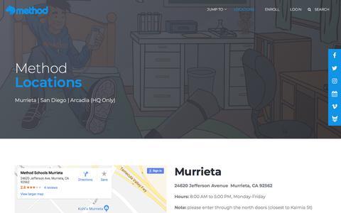 Screenshot of Locations Page methodschools.org - Locations | Method Schools - captured Sept. 20, 2018