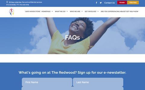 Screenshot of FAQ Page theredwood.com - FAQs | The Redwood - captured Oct. 18, 2018