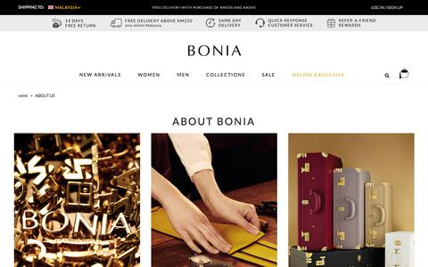 Screenshot of About Page bonia.com - About Us  | Shop Online BONIA - captured Feb. 7, 2016