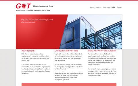 Screenshot of Jobs Page globaloutsourcingteam.com - Global Outsourcing Team - captured Oct. 17, 2016