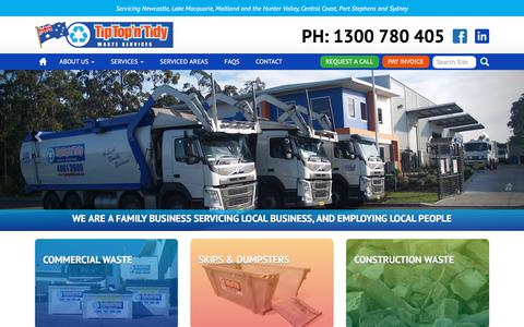 Screenshot of Home Page tiptopntidy.com.au - Waste Management – Skip Bin Hire Newcastle & Western Sydney | Tip Top 'n' Tidy - captured Oct. 27, 2017